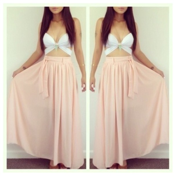 skirt salmon flows long pink dress top