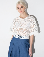 top,alice mccall white lace crop top,lace top,white top,summer top,white lace top,girly top,alice mccall,summer outfits,girly outfits tumblr,spring outfits,lace,white lace,cut out crop top