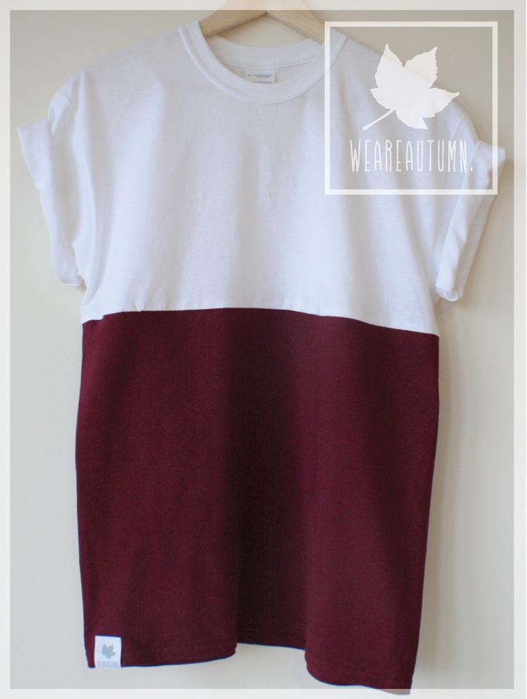 White Burgundy Half Tone Cut & Sew Tee  / weareautumn
