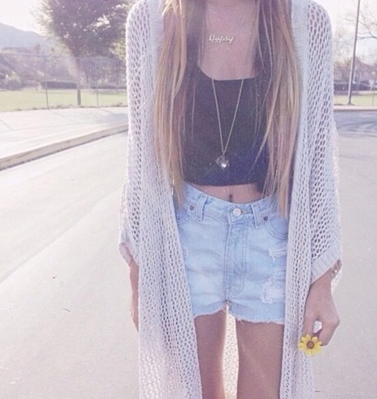 cardigan black tank top long hair gipsy necklace ripped shorts straight hair blonde black singlet black tant top white cardigan spring large cardigan long necklace summer outfits spring outfits hippie oversized cardigan