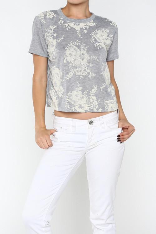 Lace Overlay Short-Sleeve Tee