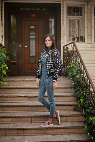 blogger vans the bow-tie polka dots bomber jacket checkered dungarees