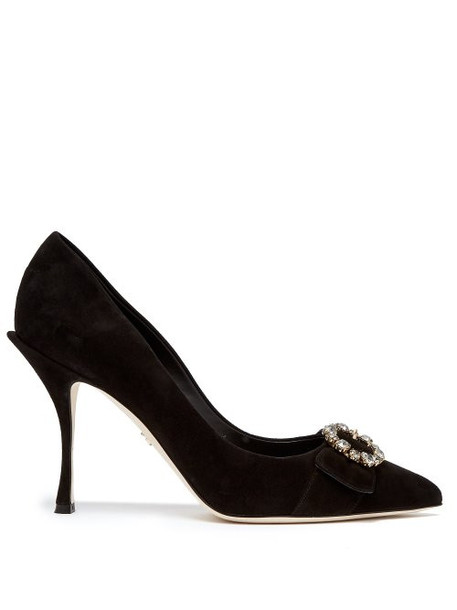Dolce & Gabbana - Crystal Embellished Suede Pumps - Womens - Black