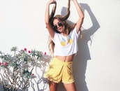 yellow,shorts,cute,summer,spring,pattern,too,outfit,top,t-shirt,yellow shorts,tumblr,tumblr shirt,tumblr girl,pineapple print,women t shirts,summer outfits