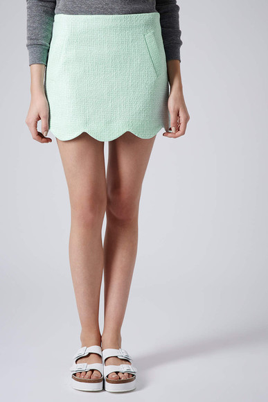 mint green skirt boucle scallop hem skirt hem skirt