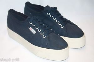 New Superga Navy Canvas Platform Sneakers Tennis Shoes Unisex 10 EU 41 5 S0001 | eBay