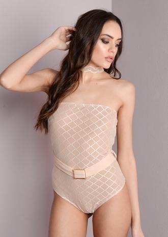 top bodysuit choker top blush pink off the shoulder