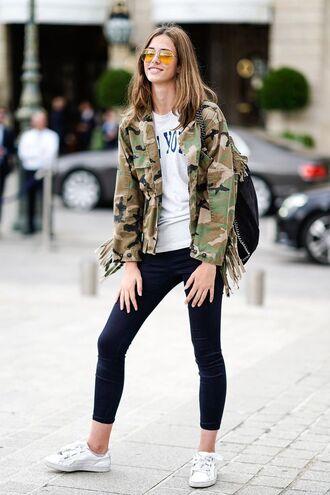 jacket pants sneakers white top top sunglasses backpack