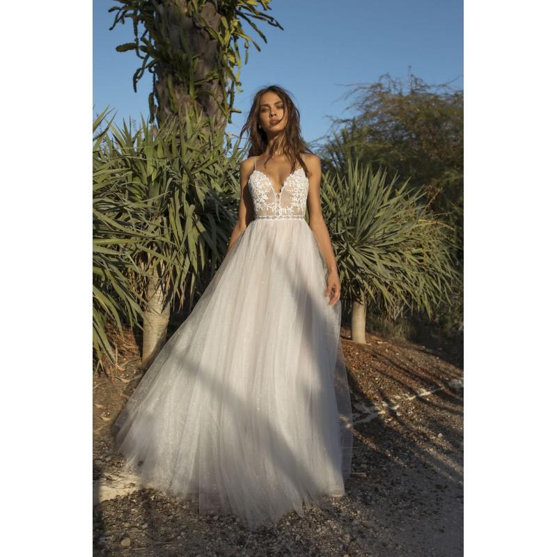 01448e212c9 Asaf Dadush 2018 White Sweet Sweep Train Ball Gown Spaghetti Straps  Sleeveless Open Back Tulle Beading Bridal ...