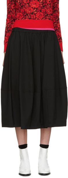 Comme Des Garçons Black Wool Gathered Skirt