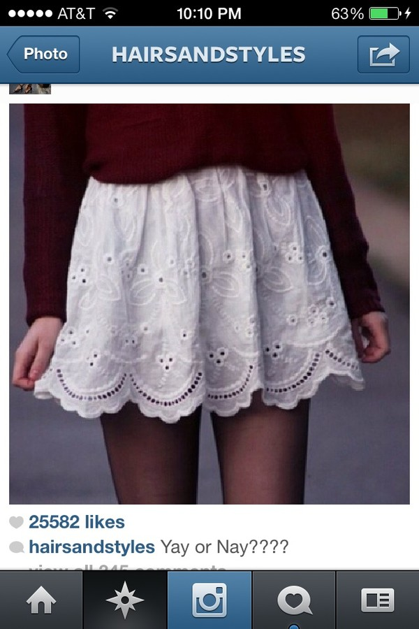 skirt white lace skirt white sweater