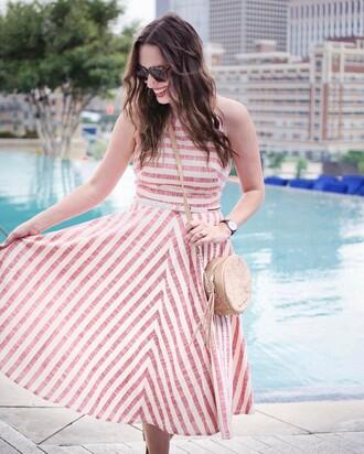 dress sunlasses tumblr midi dress stripes striped dress halter neck halter dress bag round bag sunglasses