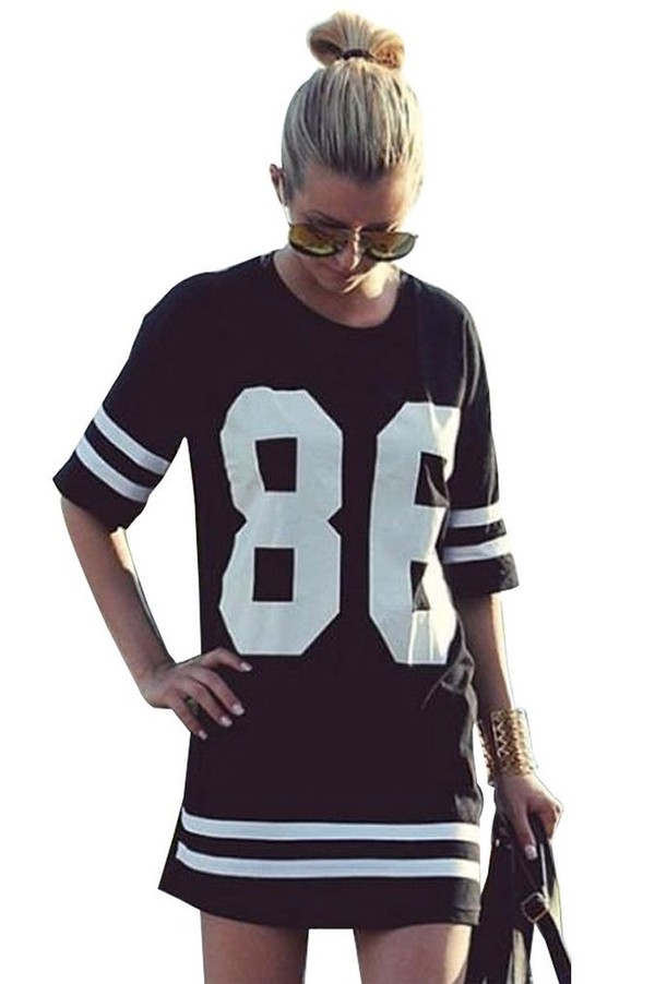 Womens Baseball Jersey Shirt Dress Baggy Sports T Shirt Top Fashion Oversized