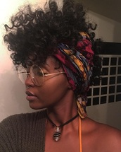 hair accessory,headwraps,glasses,curly hair,black girls killin it,necklace,nose jewelry,cute,style