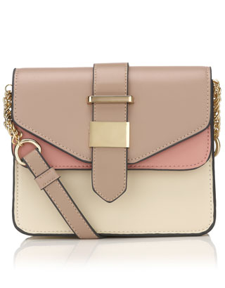 Colour block Double Flap Across Body | Pink | Accessorize
