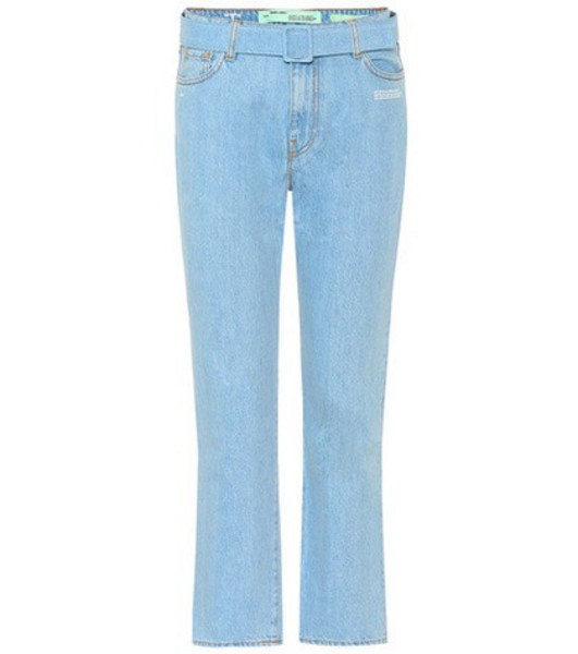 Off-White High-waisted cropped jeans in blue