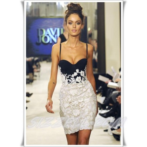 Bustier cut black w/ white lace bandage dress..