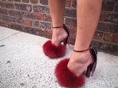 shoes,fur,fluffy,heels,high heels,burgundy fur heel