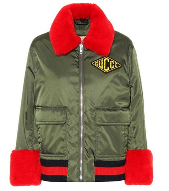 Gucci Faux fur-trimmed bomber jacket in green