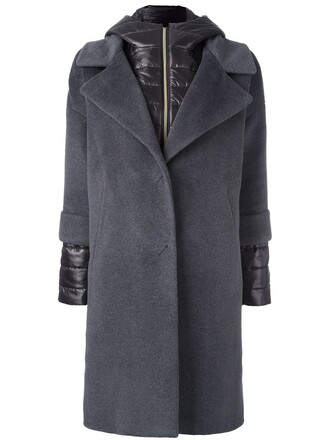 coat women layered silk wool grey