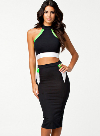 dress black suit sexy chic bqueen fashion girl bandage offshoulder halter neck top and skirt two-piece party