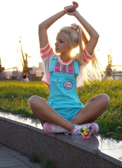 girly crop tops skater jumpsuit romper trending blonde
