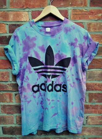 t-shirt adidas dip dyed black shirt blue purple adidas top oversized t-shirt tie dye diy dye purple and blue tie dye shirt purple adidas tie dye tye dye adidas oversized shirt hipster cute summer light blue blue shirt purple dress tshirt. top blouse adidas tie die blue and purple adidas shirt blue top