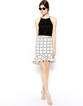 ASOS | ASOS Scuba Peplum Hem Skirt In Check Print at ASOS