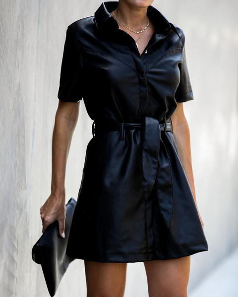 In With The Bold Faux Leather Tie Dress