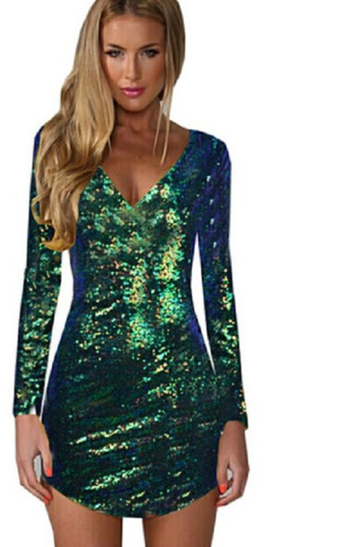 Dress: green, sequins, mini, sexy, sexy dress, occasion, xmas, new ...