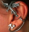 Dragon earwear earrings jewellery jewelry in gold and .925 sterling silver at dragons fire online shop
