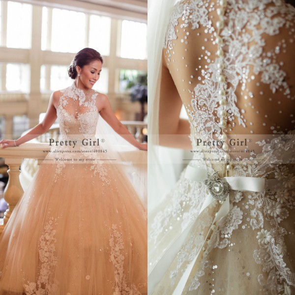 Aliexpress Buy Beautiful Chic Sequined Beading Sheer Back Vintage Wedding  Dresses 2015 High Neck Sexy See 1c3d654aec29