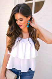 jewels,ruffled top,jewelry,accessories,Accessory,top,white top,accent earrings,ruffle