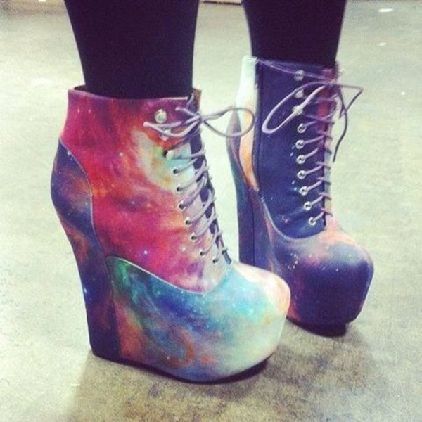 shoes high heels wedges galaxy print laces