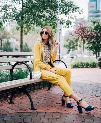 jacket yellow blazer tumblr blazer yellow pants yellow pants all yellow outfit sandals sandal heels high heel sandals floral bag sunglasses
