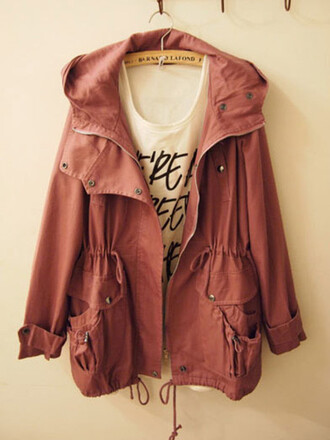 jacket parka dark pink coat clothes burnt sienna fall outfits fall outwear hooded jacket red rose blouse millitaire pink maroon/burgundy cargo jacket orange cute