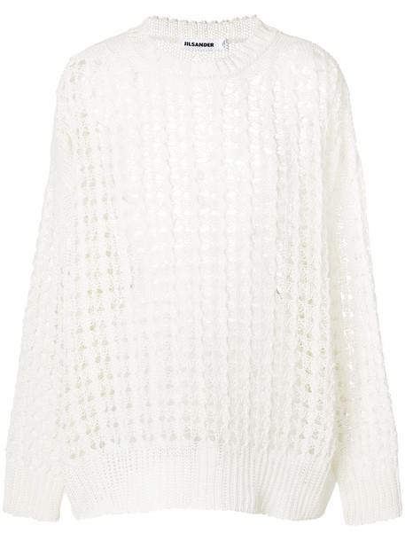 Jil Sander jumper open women white cotton knit sweater
