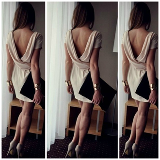 dress backless dress beige dress low back dress low back backless