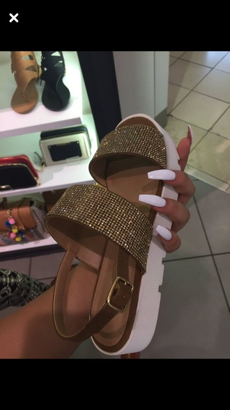 shoes gold glitter sandals flat sandals gold sandals