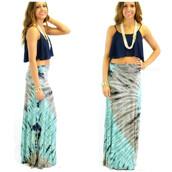 skirt,tie dye skirt,blue,grey,navy,tie dye,maxi skirt,beach,hippie,bohemian,festie ready,summer,spring,style,trendy