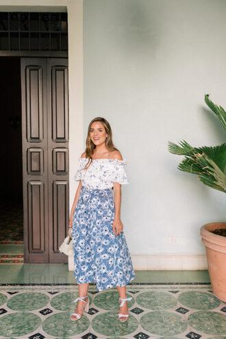 skirt midi skirt blue skirt floral off the shoulder off the shoulder top white top sandals bag
