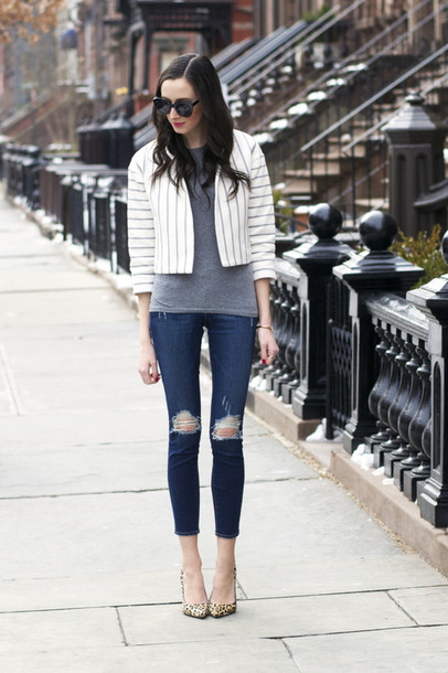 the glam files blogger jeans ripped jeans stripes cropped grey t-shirt cropped jeans leopard print high heels striped jacket jacket top jewels shoes
