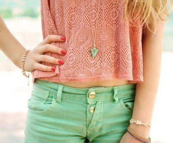 green shorts pink blouse shorts