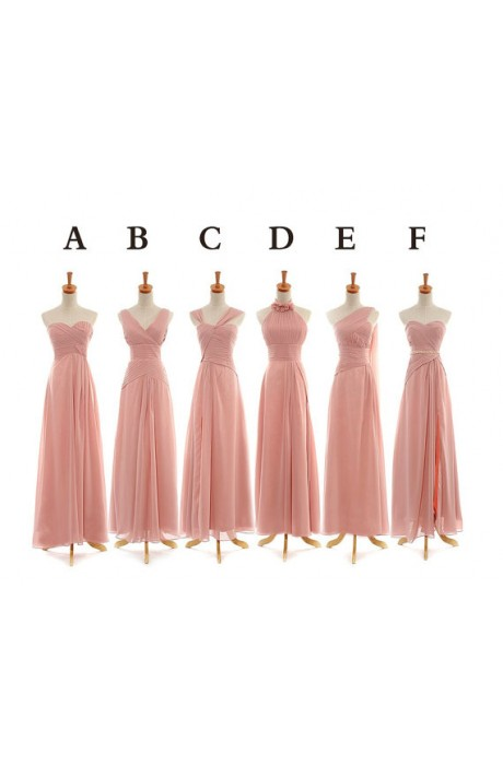 A-line Sweetheart Floor Length Chiffon Pink Bridesmaid Dress with Beaded NPD1053 Sale at Shopindress.com