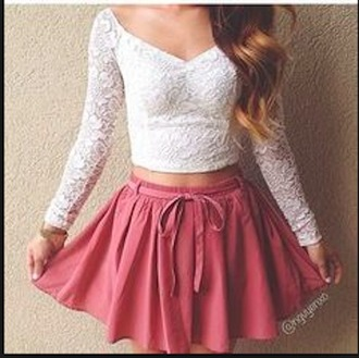 shirt lace lace shirt skirt white shirt pink skirt skater skirt ribbon bow long sleeves crop tops sweetheart neckline