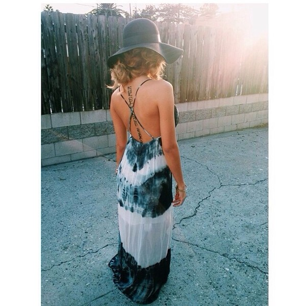 dress summer nights maxi dress tie dye maxi dress strappy back dress curly hair sun hat summer dress pretty hat clothes tie dye long maxi dress black and white