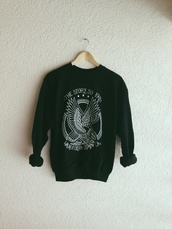 sweater,hipster,story,life,the story so far,band,music,black sweater,eagle,navy,sweatshirt,pop punk