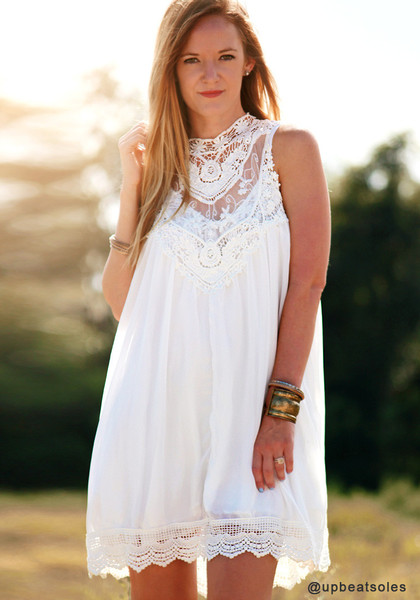 Lace Chiffon Mini Dress - White - Lookbook Store
