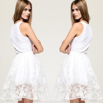 skirt style fashion white skirt cute printed leggings