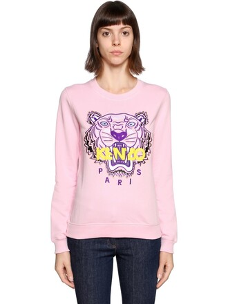 sweatshirt embroidered tiger cotton pink sweater